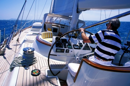 retired man sailing